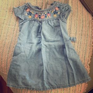 Carter's floral embroidered chambray dress 2T